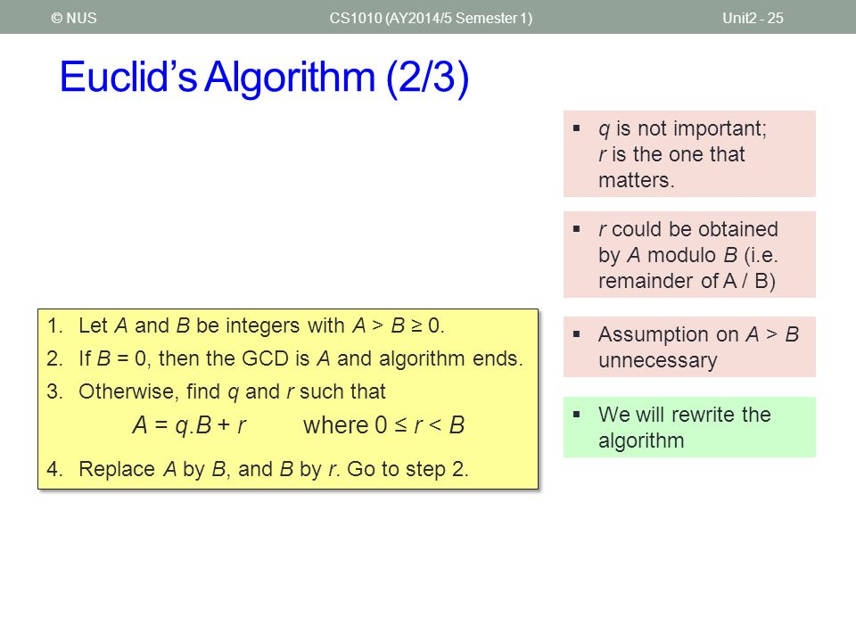 Euclid's Algorithm (2/3) CS1010 (AY2014/5 Semester 1)Unit2 - 25© NUS  q is not important; r is the one that matters.  r could be obtained by A modul