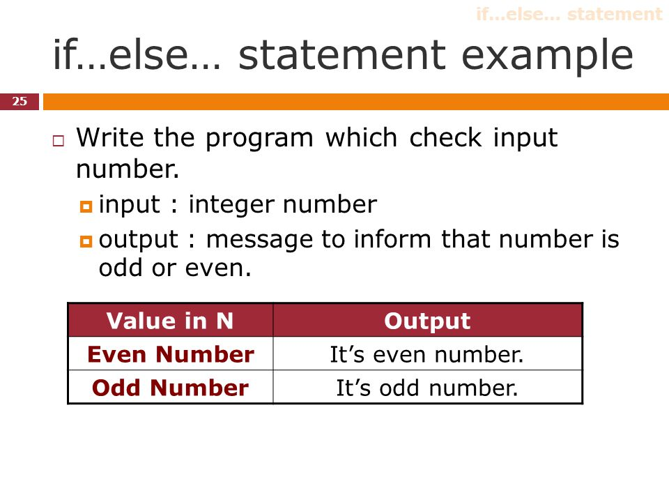 if…else… statement example 25  Write the program which check input number.  input : integer number  output : message to inform that number is odd o