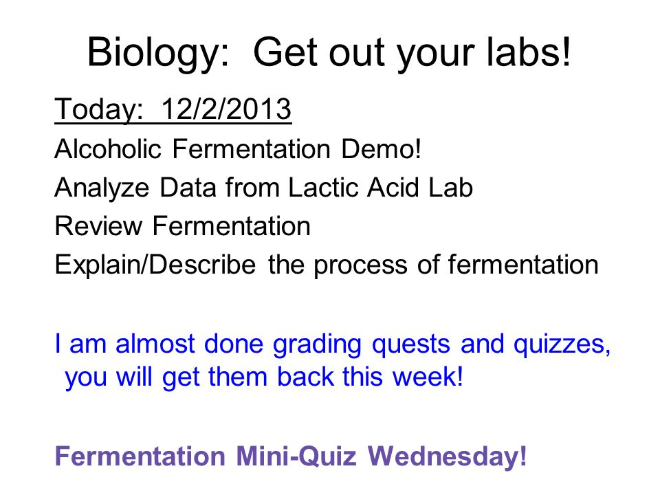 Biology: Get out your labs. Today: 12/2/2013 Alcoholic Fermentation Demo.