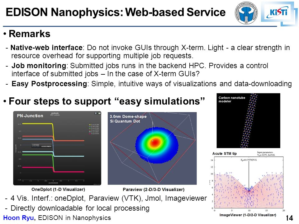 Hoon Ryu, EDISON in Nanophysics 14 Four steps to support easy simulations - Native-web interface: Do not invoke GUIs through X-term.