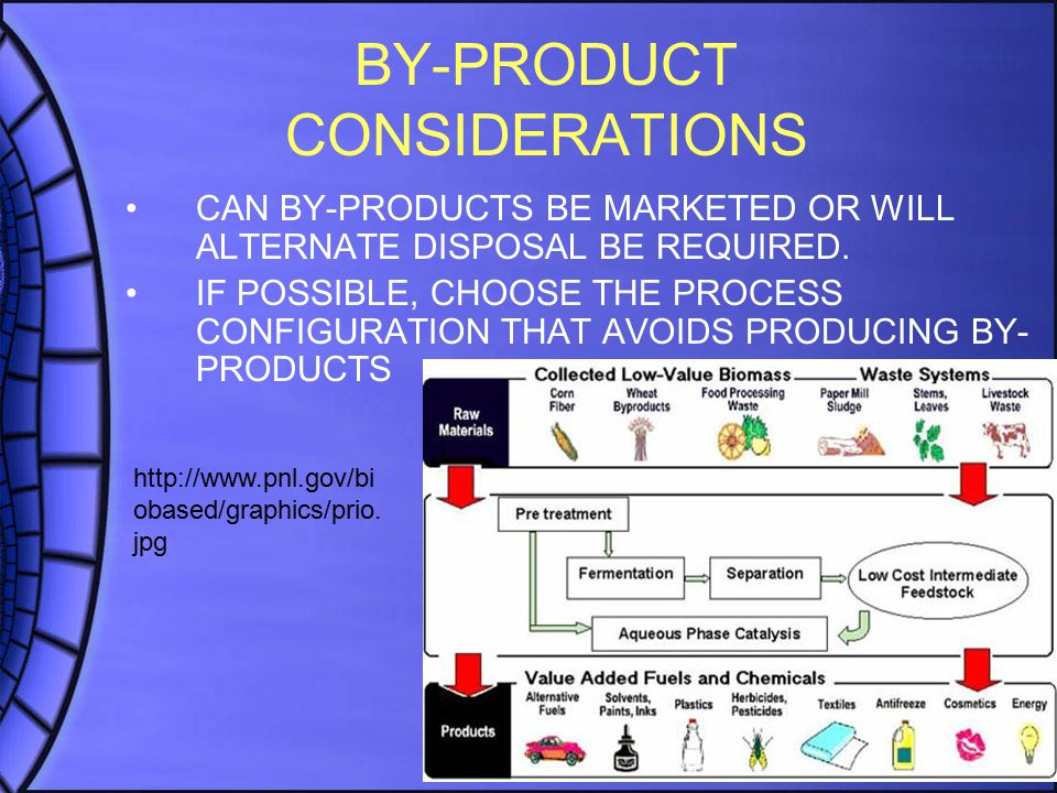 BY-PRODUCT CONSIDERATIONS CAN BY-PRODUCTS BE MARKETED OR WILL ALTERNATE DISPOSAL BE REQUIRED.