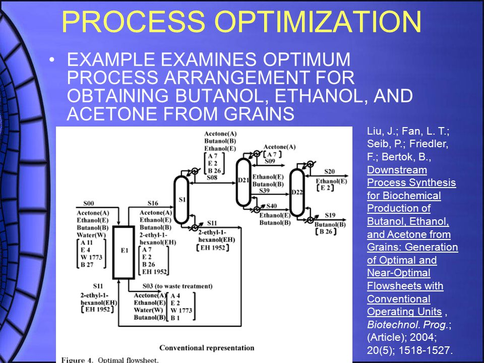 PROCESS OPTIMIZATION EXAMPLE EXAMINES OPTIMUM PROCESS ARRANGEMENT FOR OBTAINING BUTANOL, ETHANOL, AND ACETONE FROM GRAINS Liu, J.; Fan, L. T.; Seib, P