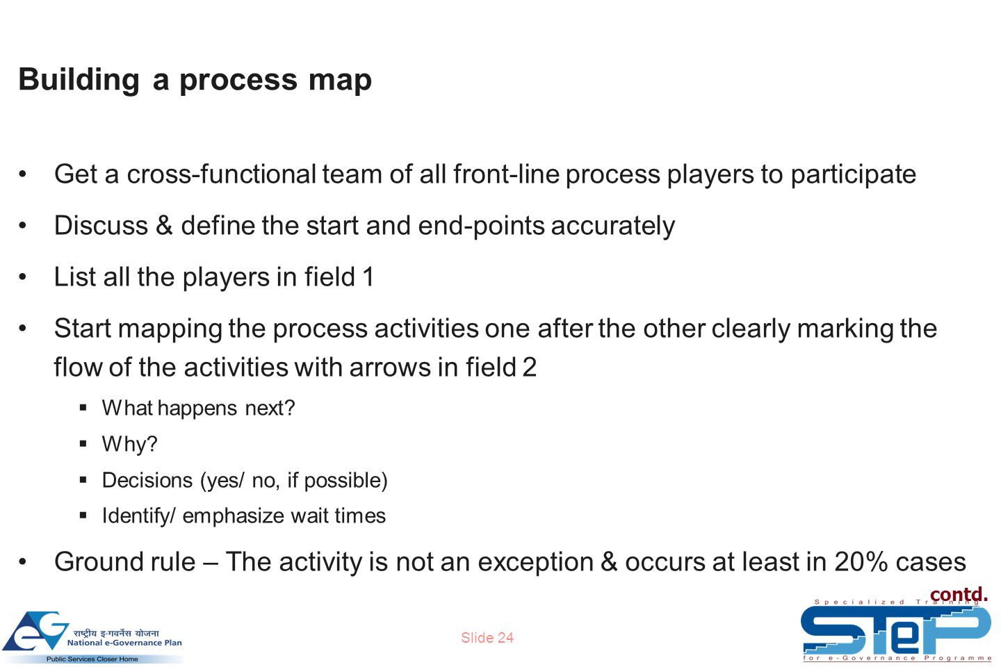 Slide 24 Building a process map contd.