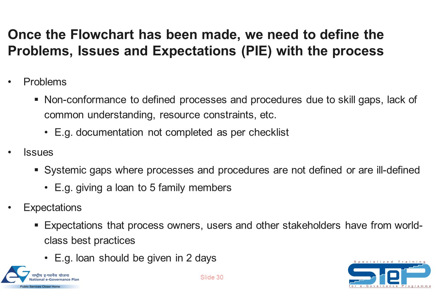 Slide 30 Once the Flowchart has been made, we need to define the Problems, Issues and Expectations (PIE) with the process Problems  Non-conformance to defined processes and procedures due to skill gaps, lack of common understanding, resource constraints, etc.