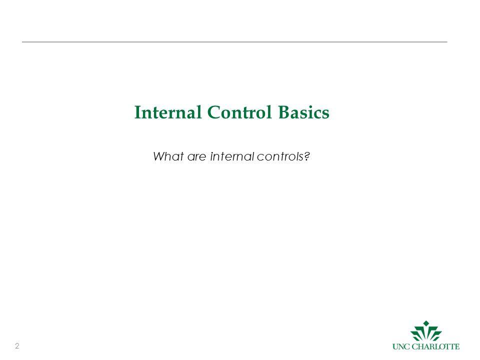 2 Internal Control Basics What are internal controls?