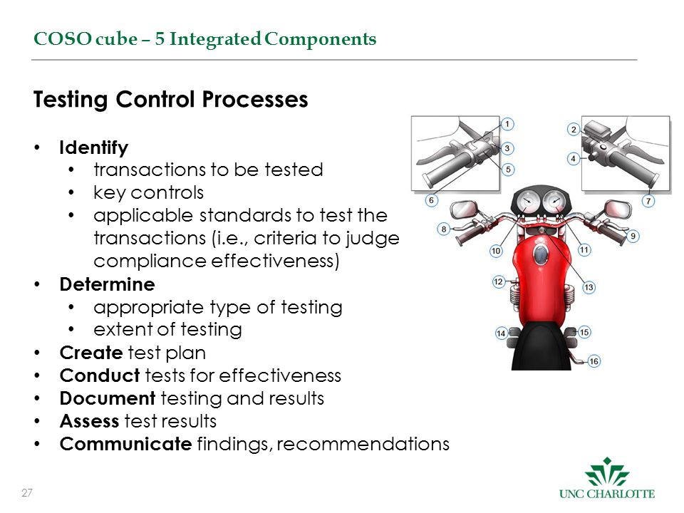 27 COSO cube – 5 Integrated Components Testing Control Processes Identify transactions to be tested key controls applicable standards to test the transactions (i.e., criteria to judge compliance effectiveness) Determine appropriate type of testing extent of testing Create test plan Conduct tests for effectiveness Document testing and results Assess test results Communicate findings, recommendations
