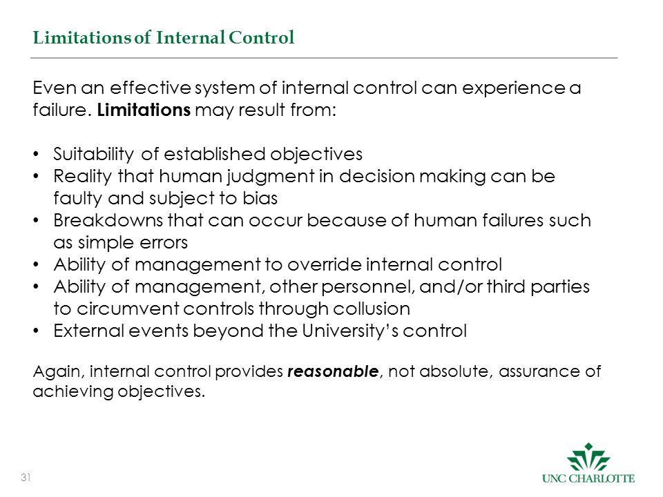 31 Limitations of Internal Control Even an effective system of internal control can experience a failure.