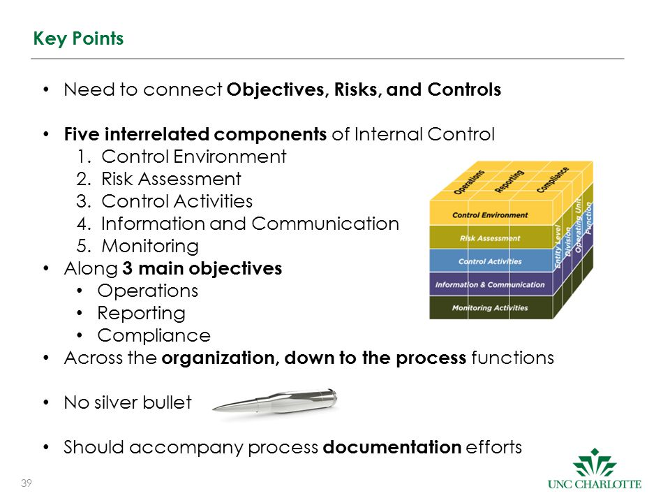 39 Key Points Need to connect Objectives, Risks, and Controls Five interrelated components of Internal Control 1.Control Environment 2.Risk Assessment 3.Control Activities 4.Information and Communication 5.Monitoring Along 3 main objectives Operations Reporting Compliance Across the organization, down to the process functions No silver bullet Should accompany process documentation efforts