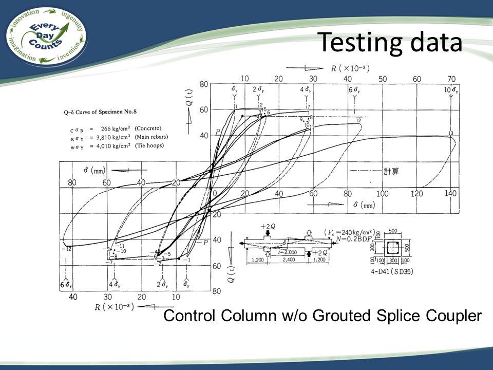 Testing data Control Column w/o Grouted Splice Coupler