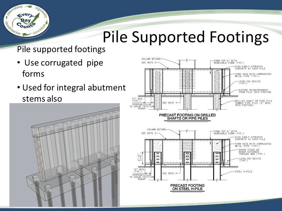 Pile supported footings Use corrugated pipe forms Used for integral abutment stems also Pile Supported Footings