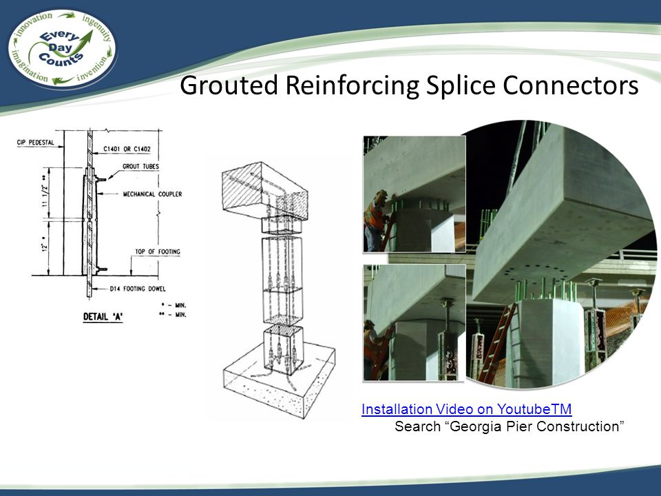 Grouted Reinforcing Splice Connectors Installation Video on YoutubeTM Search Georgia Pier Construction