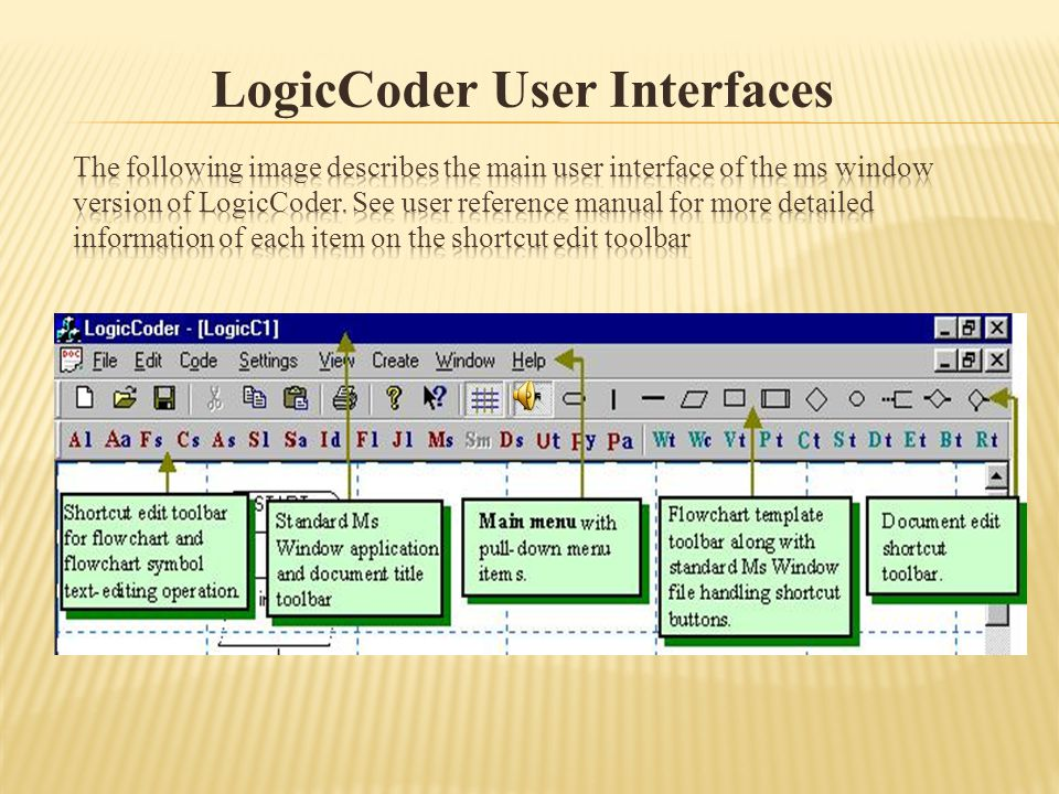 LogicCoder user interface consists of standard Ms Window GUI objects for common Ms Windows type operations.