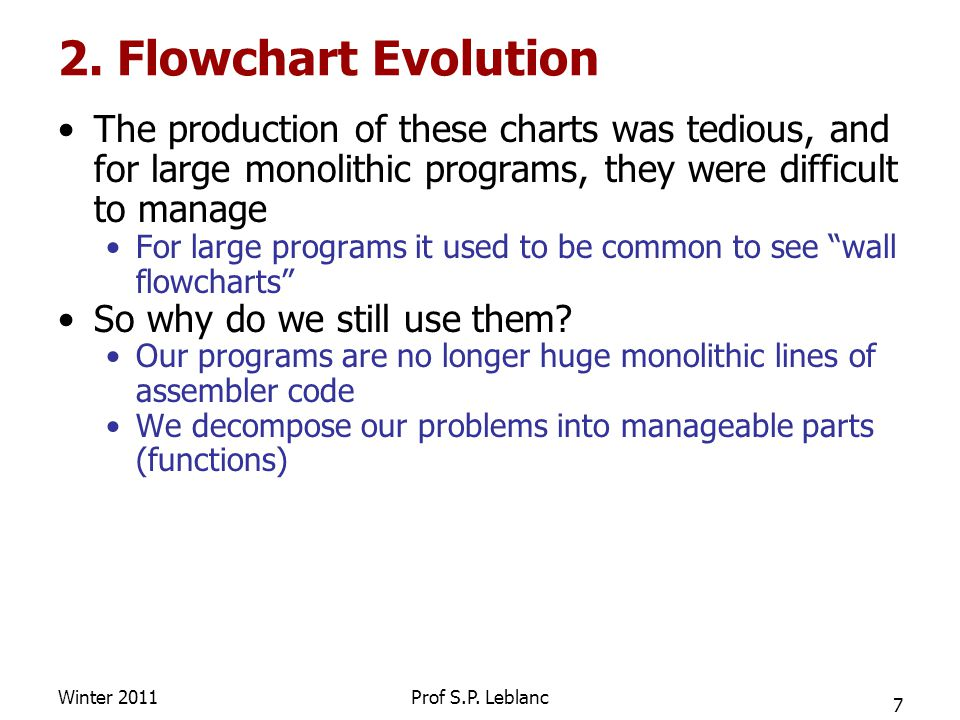 2. Flowchart Evolution The production of these charts was tedious, and for large monolithic programs, they were difficult to manage For large programs