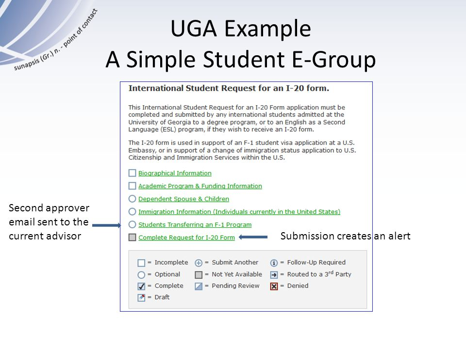 UGA Example A Simple Student E-Group Submission creates an alert Second approver email sent to the current advisor