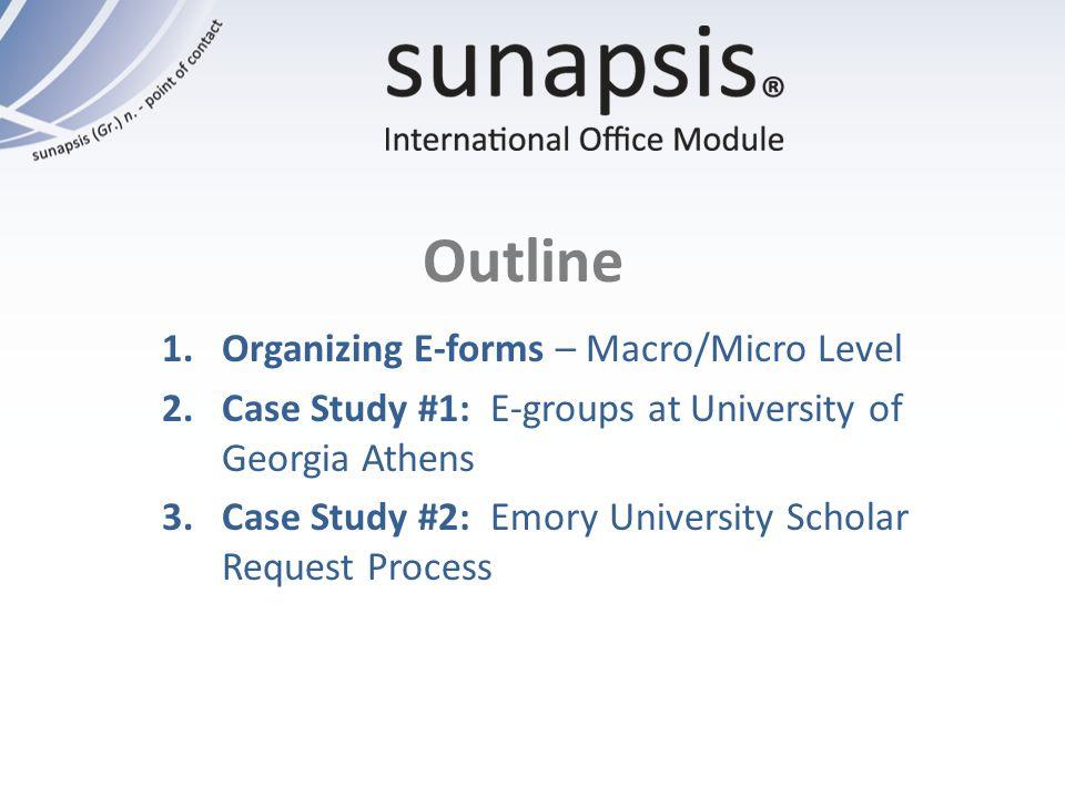 Outline 1.Organizing E-forms – Macro/Micro Level 2.Case Study #1: E-groups at University of Georgia Athens 3.Case Study #2: Emory University Scholar R