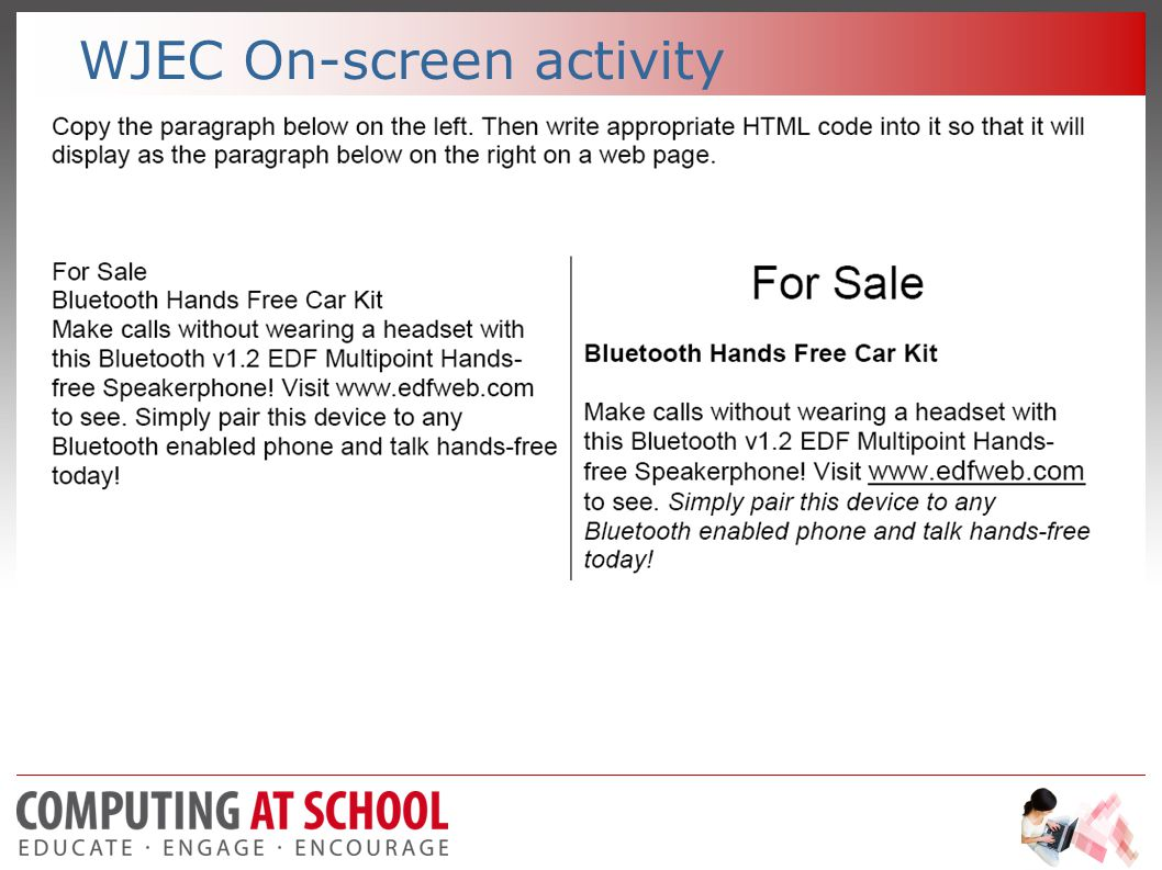 WJEC On-screen activity