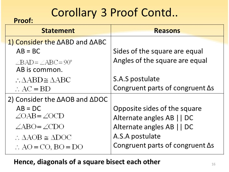 Corollary 3 Proof Contd.. Proof: Hence, diagonals of a square bisect each other StatementReasons 1) Consider the ∆ABD and ∆ABC AB = BC AB is common. S