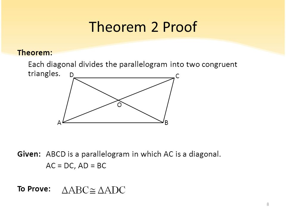 Theorem 2 Proof Theorem: Each diagonal divides the parallelogram into two congruent triangles. Given:ABCD is a parallelogram in which AC is a diagonal