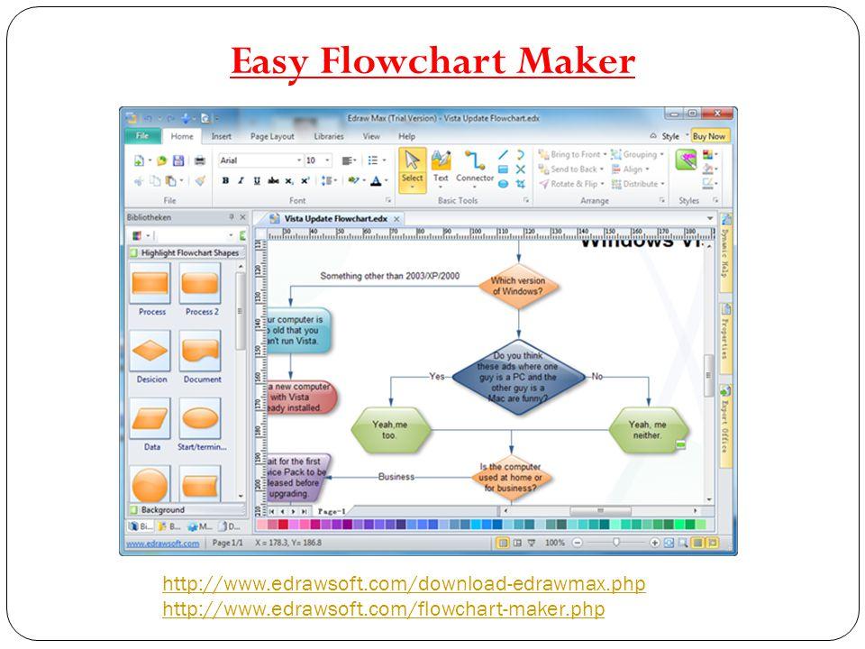 http://www.edrawsoft.com/download-edrawmax.php http://www.edrawsoft.com/flowchart-maker.php Easy Flowchart Maker