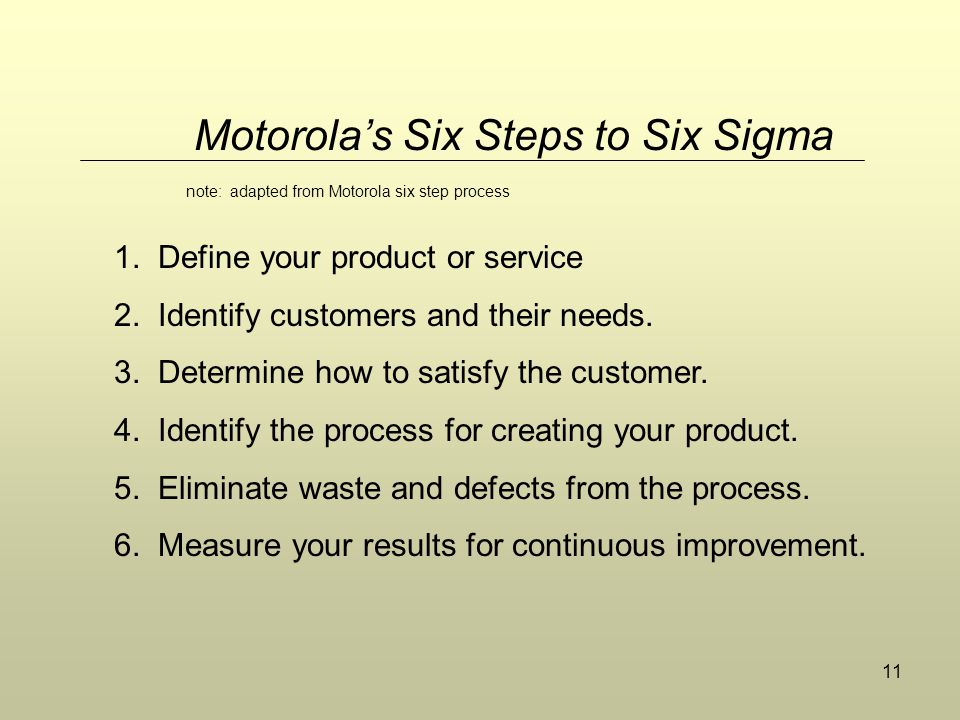11 Motorola's Six Steps to Six Sigma 1. Define your product or service 2. Identify customers and their needs. 3. Determine how to satisfy the customer