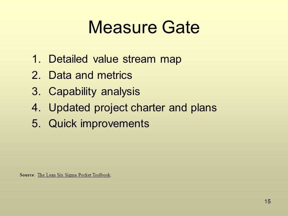 15 Measure Gate 1.Detailed value stream map 2.Data and metrics 3.Capability analysis 4.Updated project charter and plans 5.Quick improvements Source: The Lean Six Sigma Pocket Toolbook.