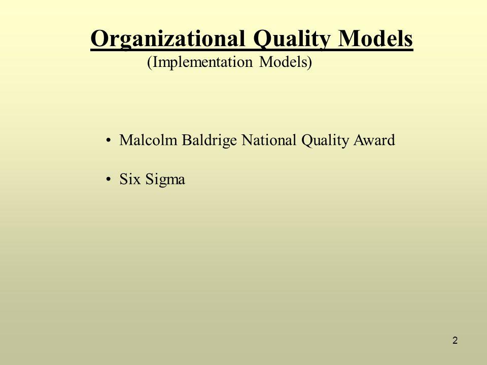 2 (Implementation Models) Malcolm Baldrige National Quality Award Six Sigma Organizational Quality Models
