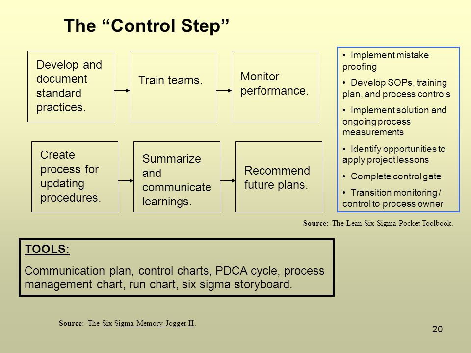 """20 TOOLS: Communication plan, control charts, PDCA cycle, process management chart, run chart, six sigma storyboard. The """"Control Step"""" Develop and do"""
