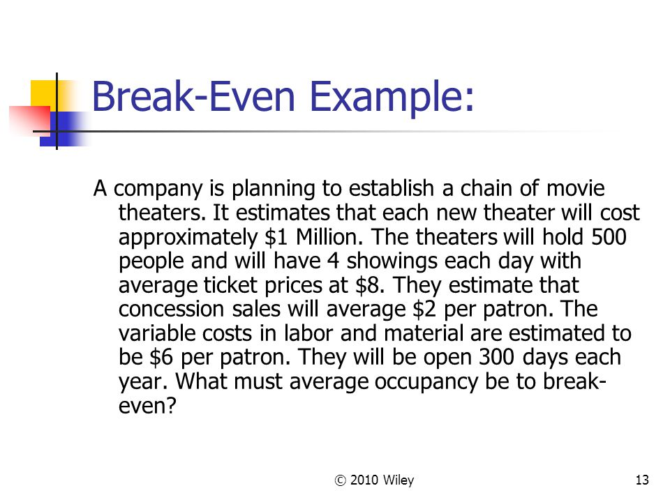 © 2010 Wiley13 Break-Even Example: A company is planning to establish a chain of movie theaters.