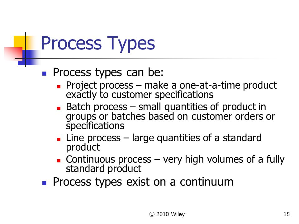 © 2010 Wiley18 Process Types Process types can be: Project process – make a one-at-a-time product exactly to customer specifications Batch process – small quantities of product in groups or batches based on customer orders or specifications Line process – large quantities of a standard product Continuous process – very high volumes of a fully standard product Process types exist on a continuum