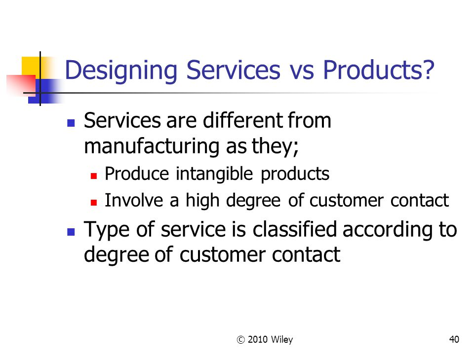 © 2010 Wiley40 Designing Services vs Products.
