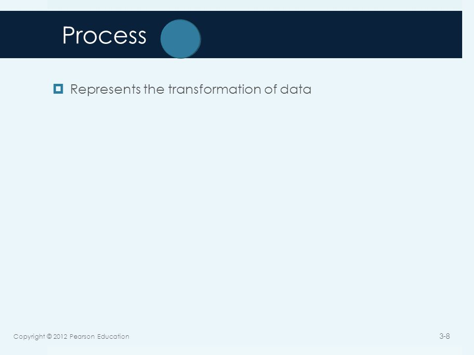 Process  Represents the transformation of data Copyright © 2012 Pearson Education 3-8