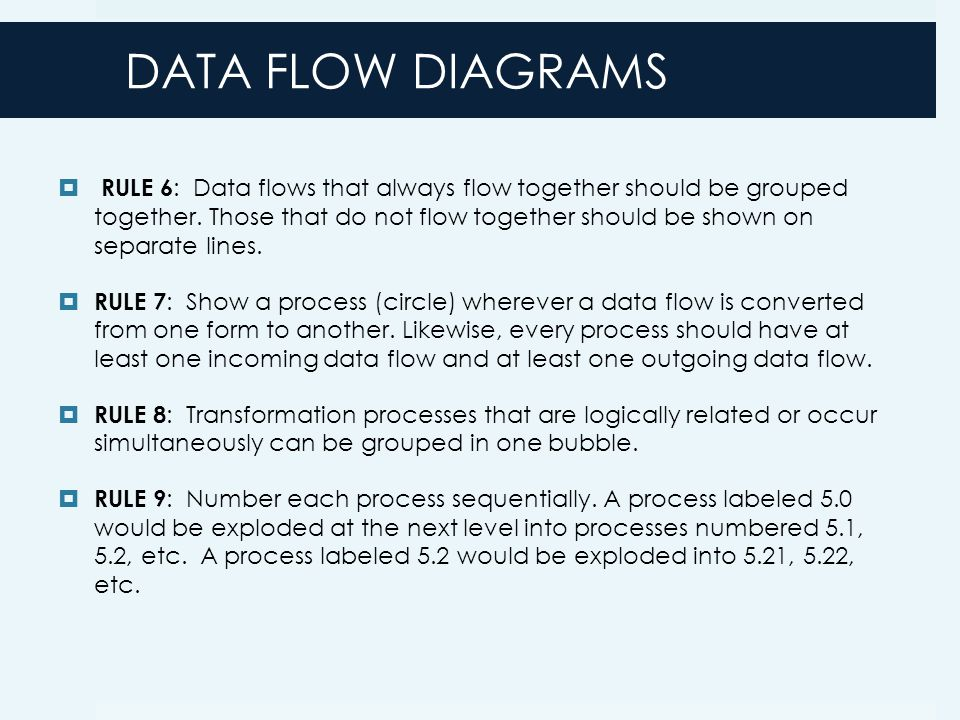DATA FLOW DIAGRAMS  RULE 6 : Data flows that always flow together should be grouped together.