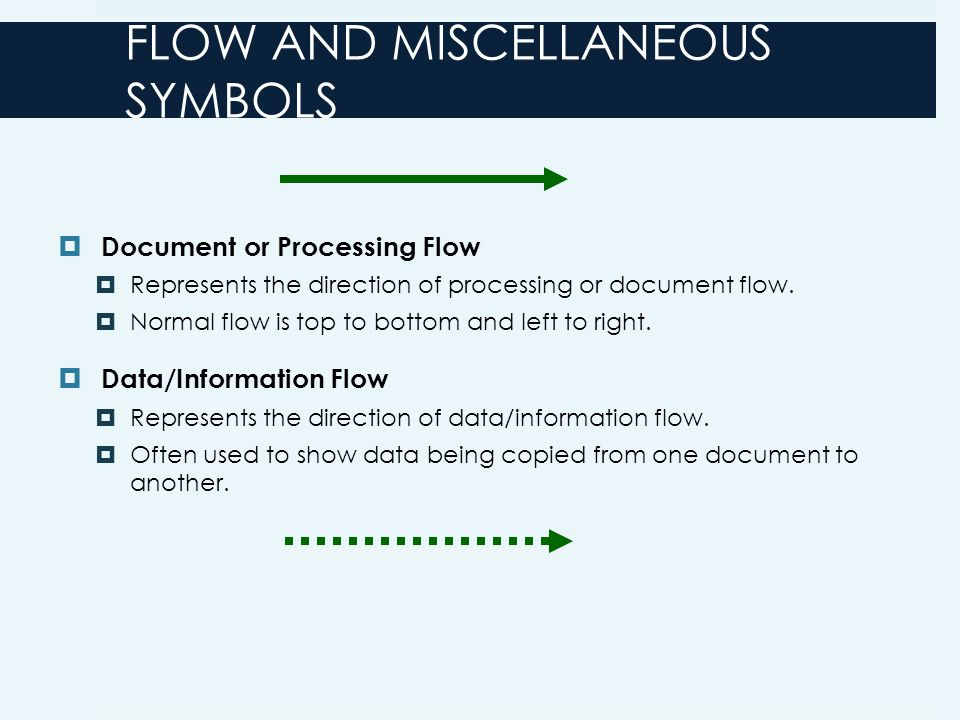 FLOW AND MISCELLANEOUS SYMBOLS  Document or Processing Flow  Represents the direction of processing or document flow.