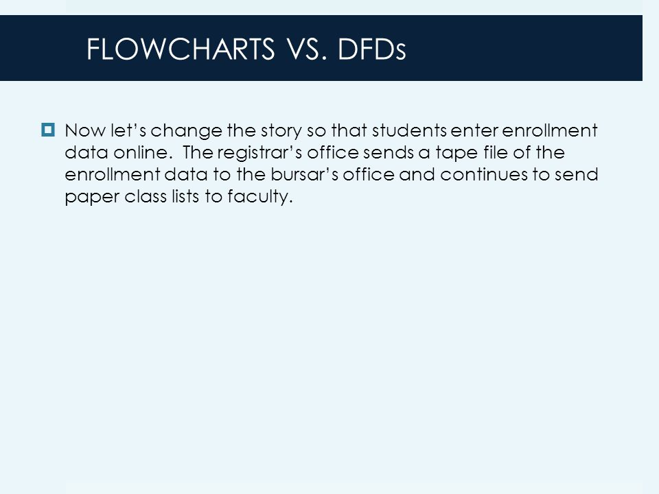 FLOWCHARTS VS. DFDs  Now let's change the story so that students enter enrollment data online.