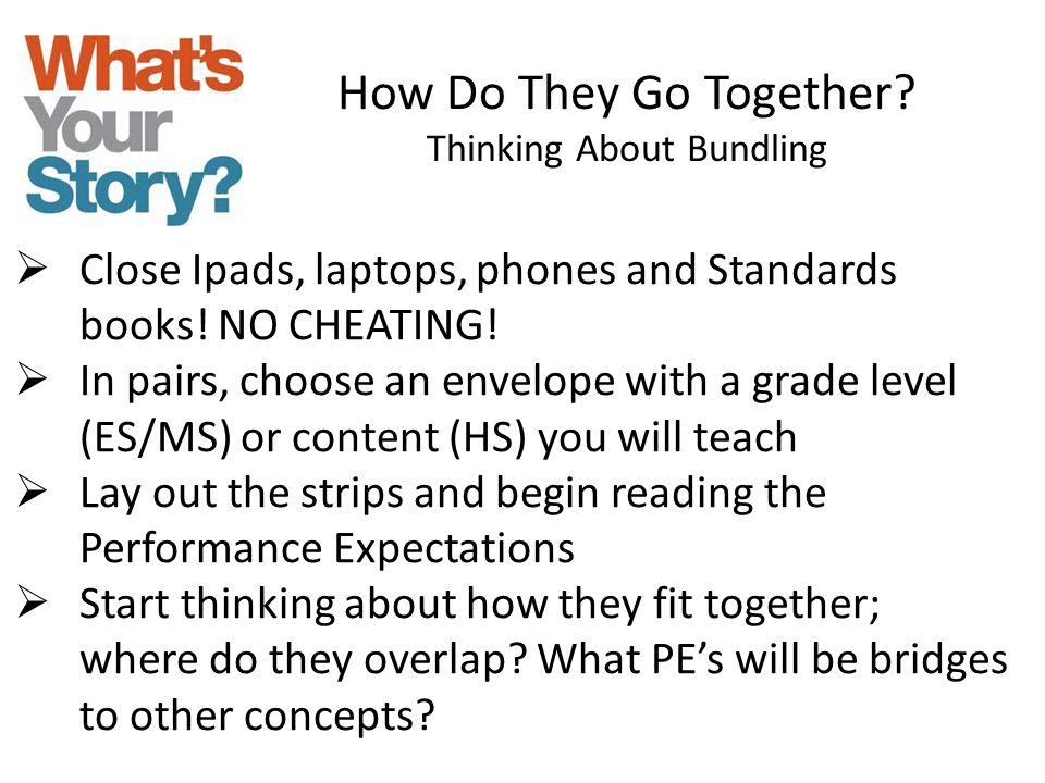 How Do They Go Together? Thinking About Bundling  Close Ipads, laptops, phones and Standards books! NO CHEATING!  In pairs, choose an envelope with