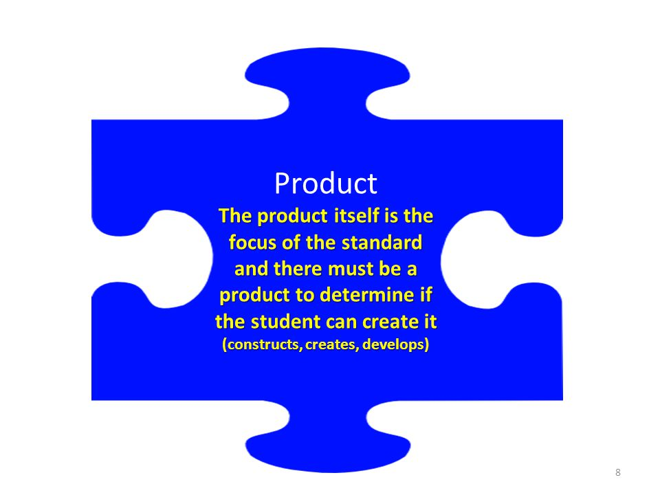 Product The product itself is the focus of the standard and there must be a product to determine if the student can create it (constructs, creates, de