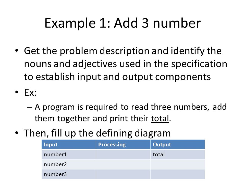 Example 1: Add 3 number Get the problem description and identify the nouns and adjectives used in the specification to establish input and output components Ex: – A program is required to read three numbers, add them together and print their total.