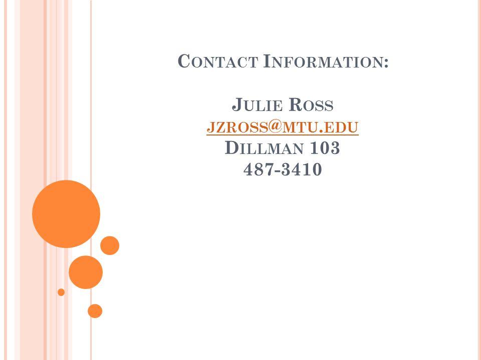 C ONTACT I NFORMATION : J ULIE R OSS JZROSS @ MTU. EDU D ILLMAN 103 487-3410 JZROSS @ MTU. EDU