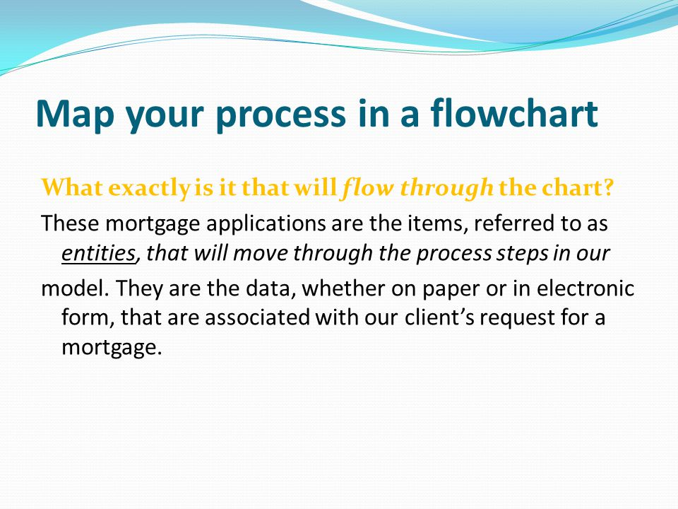Map your process in a flowchart What exactly is it that will flow through the chart.