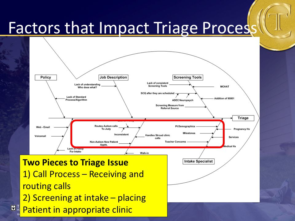 Factors that Impact Triage Process Two Pieces to Triage Issue 1) Call Process – Receiving and routing calls 2) Screening at intake – placing Patient in appropriate clinic