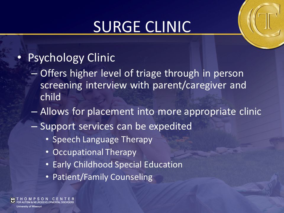 SURGE CLINIC Psychology Clinic – Offers higher level of triage through in person screening interview with parent/caregiver and child – Allows for placement into more appropriate clinic – Support services can be expedited Speech Language Therapy Occupational Therapy Early Childhood Special Education Patient/Family Counseling