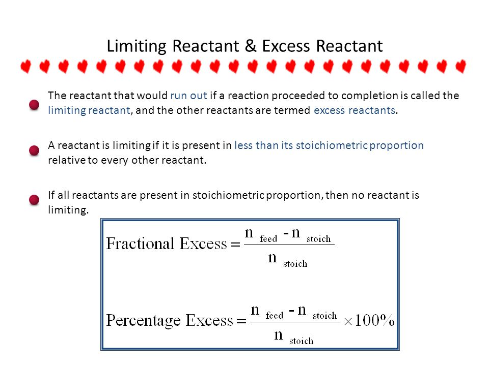 Limiting Reactant & Excess Reactant The reactant that would run out if a reaction proceeded to completion is called the limiting reactant, and the oth