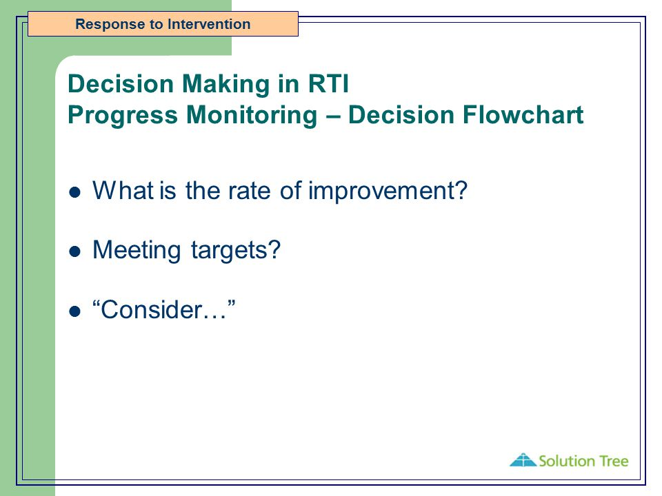 "Response to Intervention Decision Making in RTI Progress Monitoring – Decision Flowchart What is the rate of improvement? Meeting targets? ""Consider…"""