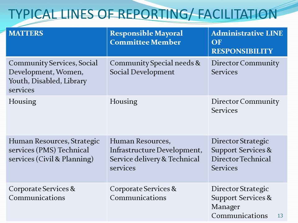 TYPICAL LINES OF REPORTING/ FACILITATION MATTERSResponsible Mayoral Committee Member Administrative LINE OF RESPONSIBILITY Community Services, Social Development, Women, Youth, Disabled, Library services Community Special needs & Social Development Director Community Services Housing Director Community Services Human Resources, Strategic services (PMS) Technical services (Civil & Planning) Human Resources, Infrastructure Development, Service delivery & Technical services Director Strategic Support Services & Director Technical Services Corporate Services & Communications Director Strategic Support Services & Manager Communications 13
