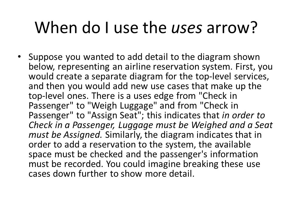 When do I use the uses arrow.