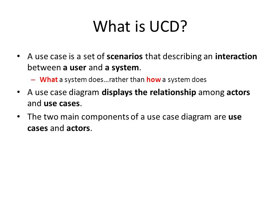 How is a UCD different from a traditional flow chart.