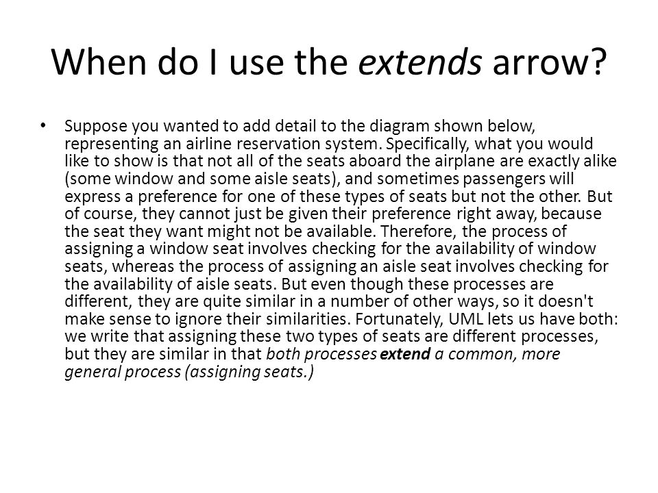 When do I use the extends arrow.