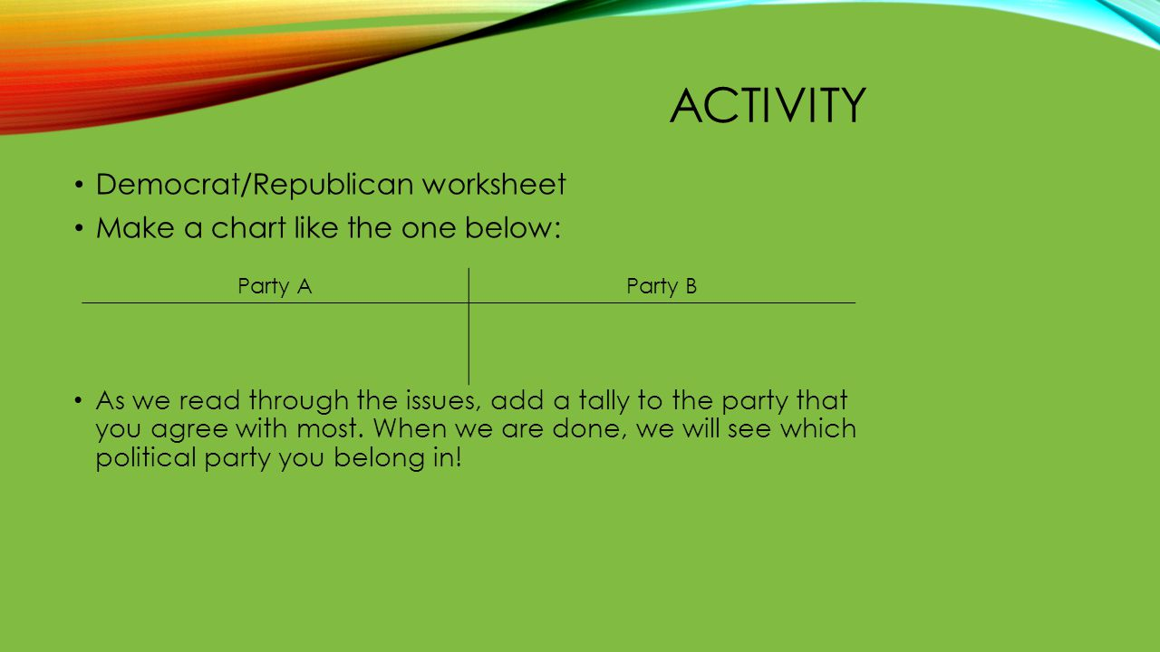 ACTIVITY Democrat/Republican worksheet Make a chart like the one below: As we read through the issues, add a tally to the party that you agree with mo