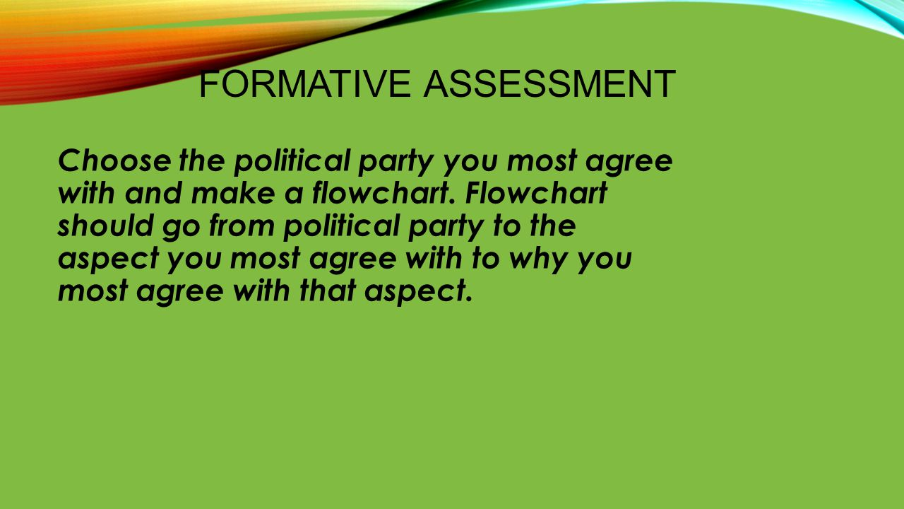 FORMATIVE ASSESSMENT Choose the political party you most agree with and make a flowchart. Flowchart should go from political party to the aspect you m