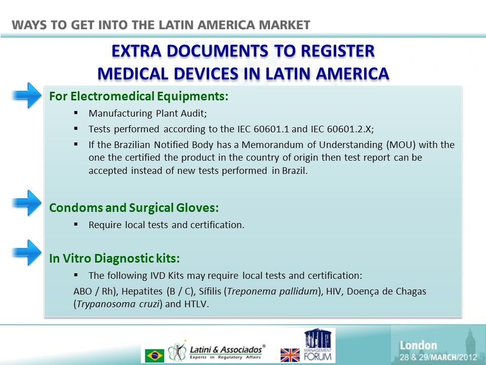 EXTRA DOCUMENTS TO REGISTER MEDICAL DEVICES IN LATIN AMERICA For Electromedical Equipments:  Manufacturing Plant Audit;  Tests performed according t